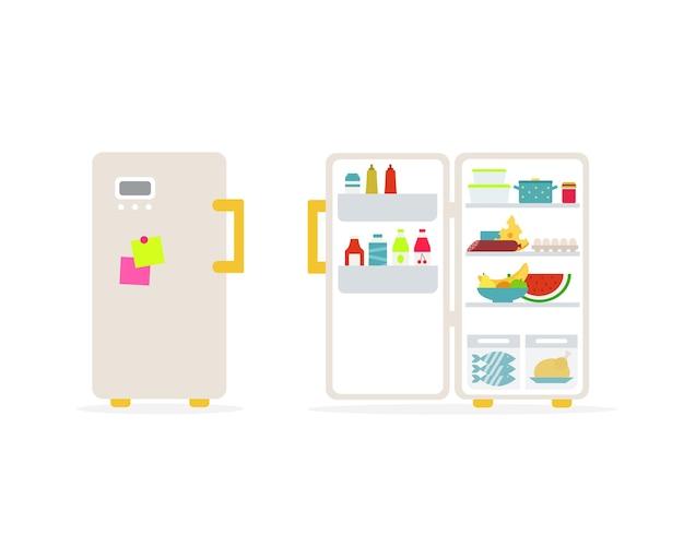 Illustrazione vettoriale di frigoriferi pieni chiusi e aperti isolati su priorità bassa bianca.