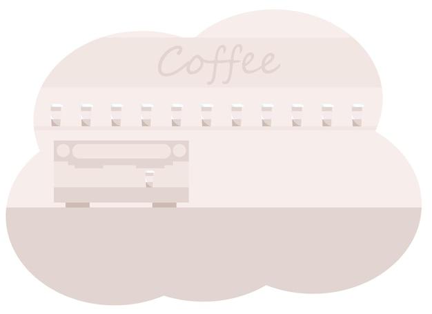 Illustrazione vettoriale dell'interno del bancone del caffè con macchina da caffè e tazze da caffè