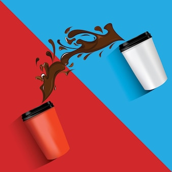 Illustrazione vettoriale di tazzine da caffè in movimento