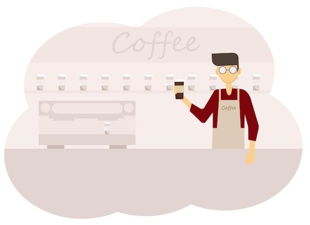 Illustrazione vettoriale degli interni della caffetteria e degli uomini barista con una tazza di caffè