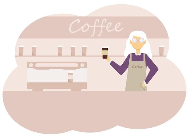 Illustrazione vettoriale di interni della caffetteria e donne barista con una tazza di caffè