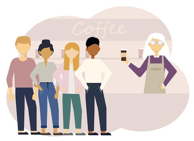 Illustrazione vettoriale di un interno di una caffetteria con una barista donna al bancone e una lunga fila di clienti.