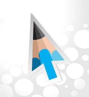 Illustrazione vettoriale del cursore a freccia a colori con sfondo retrò