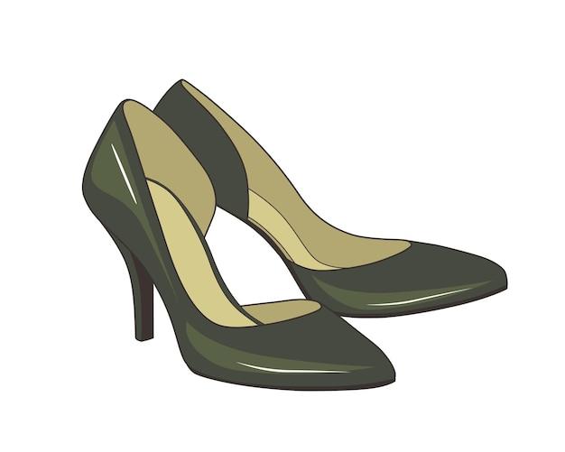 Illustrazione vettoriale di scarpe colorate con tacco alto