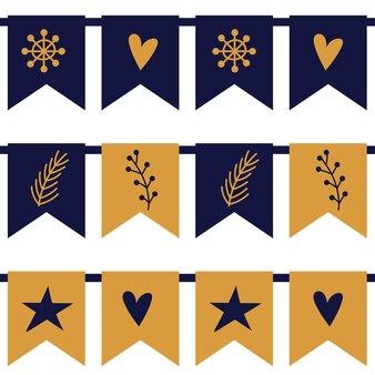Illustrazione vettoriale di ghirlande colorate su bianco. bandiere blu e gialle