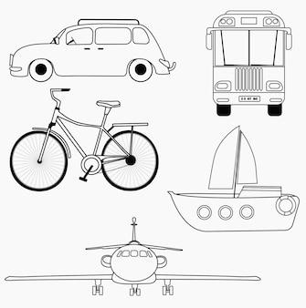 Illustrazione vettoriale per libri da colorare. contorno nero del fumetto di un trasporto su sfondo bianco.