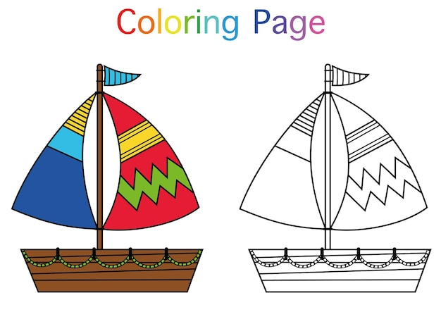 Pagina da colorare di illustrazione vettoriale in tema di vela gioco di attività per il tempo libero per bambini