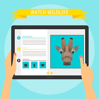 Concetto di illustrazione vettoriale delle mani che tengono tablet digitale moderno e puntano su uno schermo con un sito web sulla fauna selvatica. stile di design piatto, isolato su sfondo di colore brillante ed elegante con slogan
