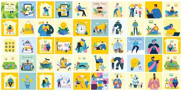 Illustrazione vettoriale del concetto di attività di lavoro di squadra e avviare sfondi di design
