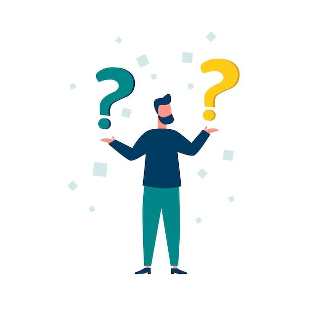 Illustrazione vettoriale illustrazione concettuale delle domande frequenti punti esclamativi