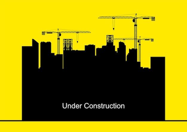 Illustrazione vettoriale di gru edili ed edifici, sviluppo, sviluppo, crescita, tema