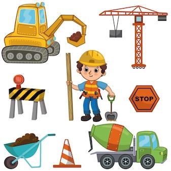 Illustrazione vettoriale di un set di costruzioni il set include i trasporti per la costruzione degli strumenti del ragazzino