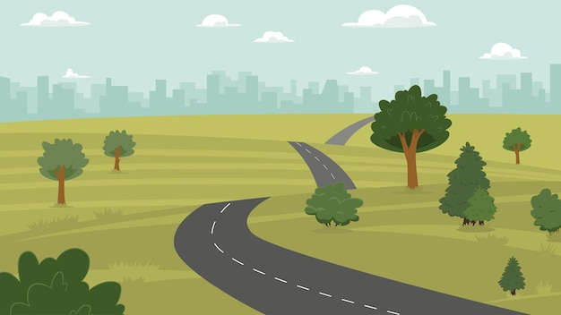Illustrazione vettoriale di campagna, collina, città e strada
