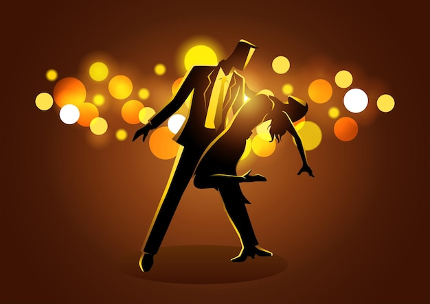 Illustrazione vettoriale di coppia che balla mentre si sta in piedi su sfondo chiaro bokeh