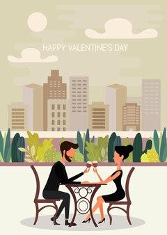 Illustrazione vettoriale di una coppia innamorata su poster carini di san valentino, auguri di san valentino, cornice a forma di cuore.