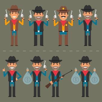 Illustrazione di vettore, armi e soldi del carattere del cowboy, formato di env 10.