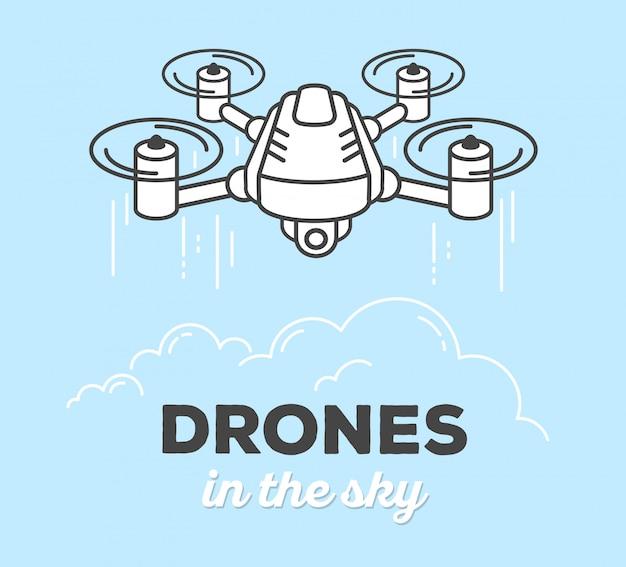 Illustrazione vettoriale di drone creativo con testo su sfondo blu. drone nel cielo
