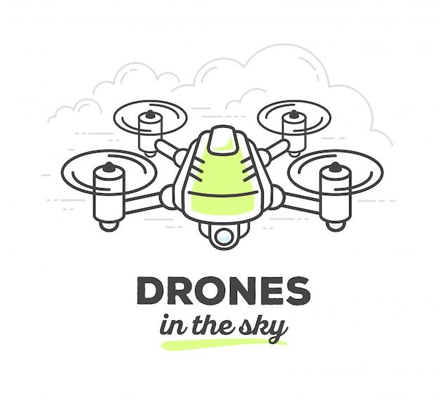 Illustrazione vettoriale di drone creativo con testo su sfondo bianco. drone nel cielo
