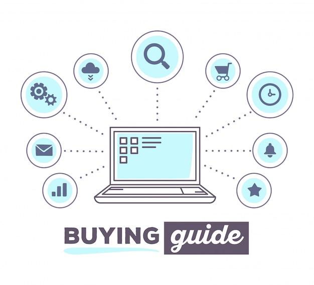 Illustrazione vettoriale infografica creativa del processo di acquisto in linea con icone e testo su sfondo bianco. concetto di laptop