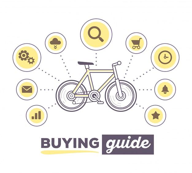 Illustrazione vettoriale infografica creativa della bicicletta sportiva con icone e testo su sfondo bianco. bicicletta da montagna