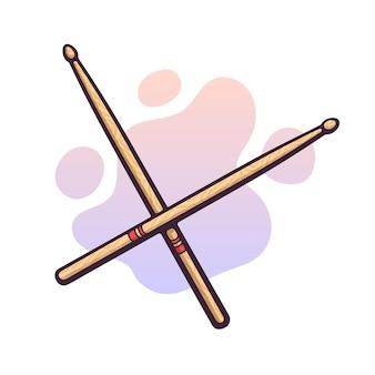Illustrazione vettoriale. bacchette di legno incrociate. strumento musicale a percussione. attrezzature blues, jazz o rock. clipart con contorno per la progettazione grafica. isolato su sfondo bianco