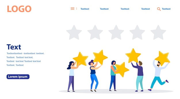 Illustrazione vettoriale, valutazione delle recensioni dei clienti, diverse persone forniscono una valutazione e un feedback delle recensioni, supporto per la soddisfazione aziendale. banner web, sito web mobile. modello di pagina di destinazione.