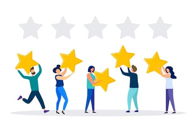 Illustrazione vettoriale valutazione delle recensioni dei clienti diverse persone danno una valutazione e un feedback delle recensioni
