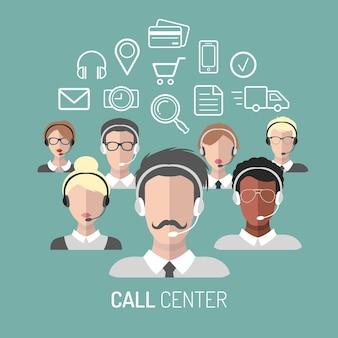 Illustrazione vettoriale del servizio clienti, icone di operatori di call center con cuffie.