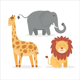 Illustrazione vettoriale di simpatici animali per bambini, leoni, elefanti, giraffe
