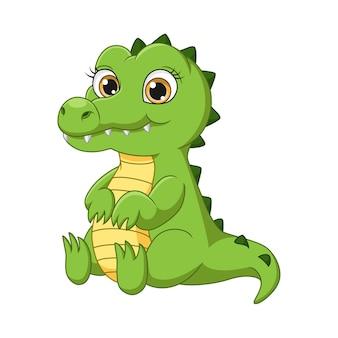 Illustrazione vettoriale di simpatico cartone animato coccodrillo seduto