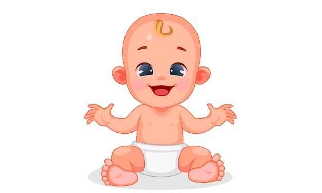 Illustrazione vettoriale di bambino carino con espressioni diverse