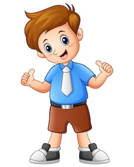Vector l'illustrazione di un ragazzo sveglio che dà i pollici su