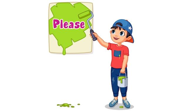 Illustrazione vettoriale di ragazzo carino dipingere una tavola di testo per favore