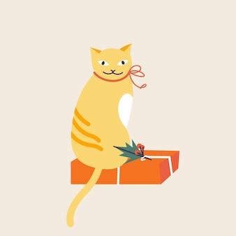 Illustrazione vettoriale simpatico gatto di natale con fiocco rosso seduto sulla confezione regalo. atmosfera da vacanza invernale.