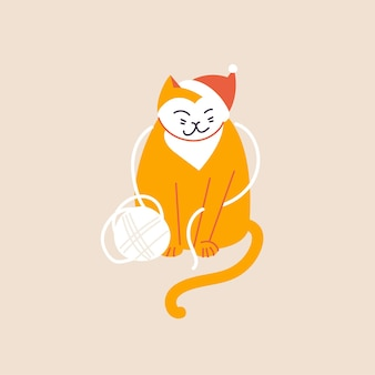 Illustrazione vettoriale simpatico gatto di natale con cappello santa giocando con il gomitolo di filo. atmosfera da vacanza invernale.