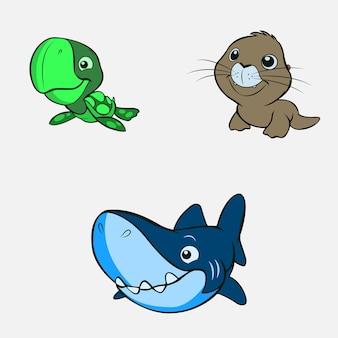 Illustrazione vettoriale di un simpatico set di animali da squalo e foca tartaruga carina