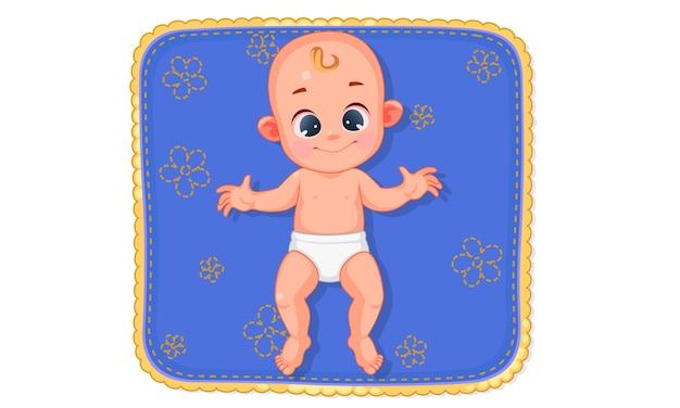 Illustrazione vettoriale di carino bambino felice posa sulla stuoia