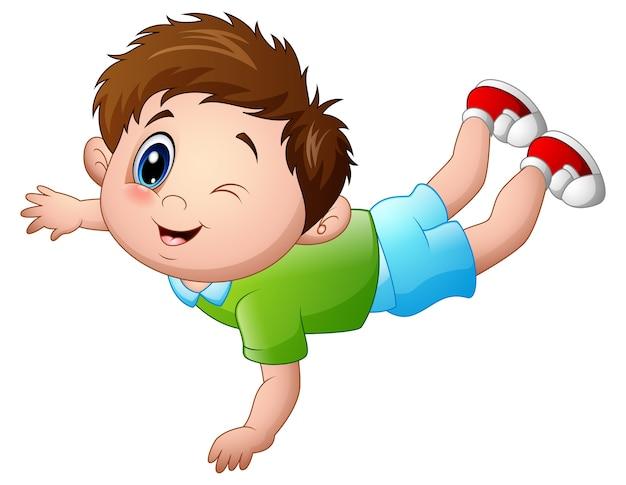 Illustrazione di vettore del fumetto sveglio del ragazzino incline