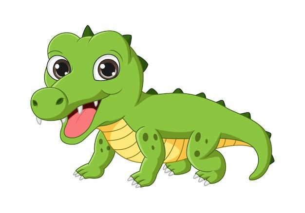 Illustrazione vettoriale di simpatico cartone animato coccodrillo su sfondo bianco