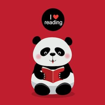 Illustrazione vettoriale di un simpatico panda che legge un libro su sfondo rosso