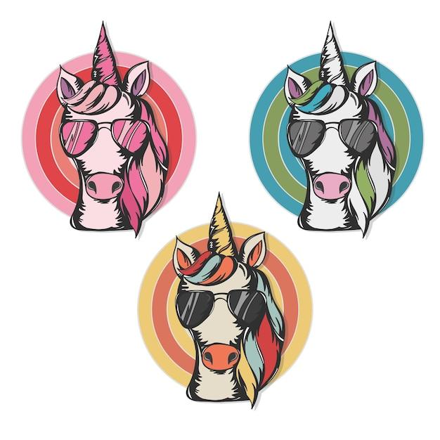 Illustrazione vettoriale di un simpatico unicorno che indossa occhiali da sole - design per stampa, cartoline, t-shirt