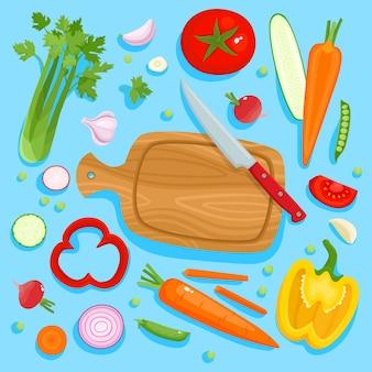 Illustrazione vettoriale di tagliere coltello verdure pomodori pepe carota ravanello e aglio
