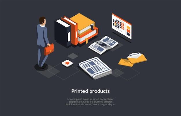 Illustrazione vettoriale su sfondo scuro. composizione isometrica sul concetto di prodotti stampati. stile 3d del fumetto. uomo d'affari con valigetta, libri e cartelle per documenti, giornali e lettere intorno.