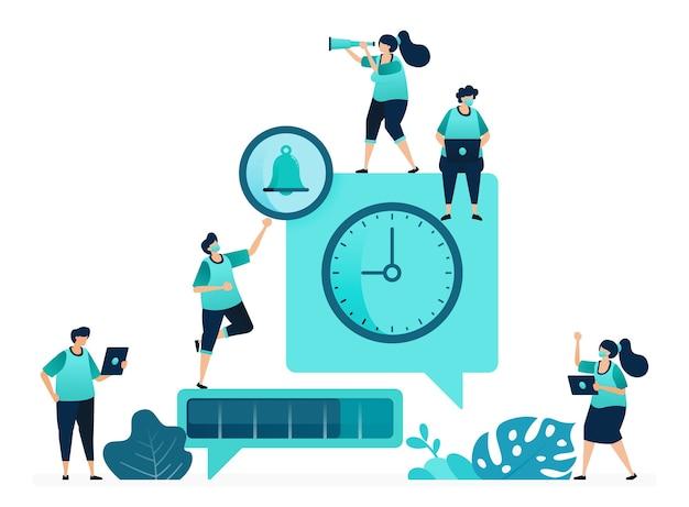 Illustrazione vettoriale di metafore di conversazione ritardata. pianificazione dei messaggi. tempo per l'avanzamento della consegna del messaggio. donne e uomini lavoratori. progettato per sito web, web, pagina di destinazione, app ui ux, poster, flyer