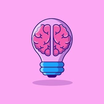 Disegno di illustrazione vettoriale di due metà del cervello in una lampada a incandescenza