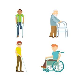 Illustrazione vettoriale di persone disabili Vettore Premium