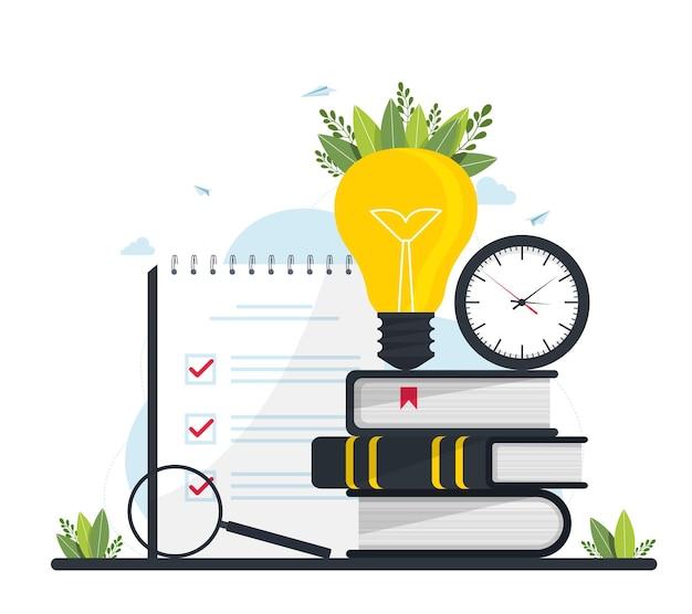 Illustrazione vettoriale, formazione a distanza, corsi online e business, istruzione, libri online e guide allo studio, preparazione agli esami, insegnamento a casa, orologio con una lente d'ingrandimento e una pila di libri