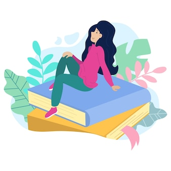 Illustrazione vettoriale di una ragazza sognante seduta su una pila di libri