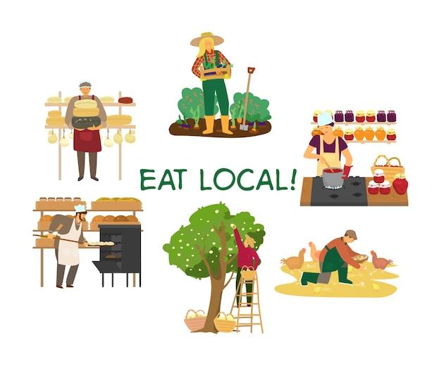 Illustrazione vettoriale del concetto di mangiare locale con diversi produttori di prodotti. contadina con verdure, panettiere, casaro, allevatore di polli, giardiniere che raccoglie mele, donna che fa la marmellata.