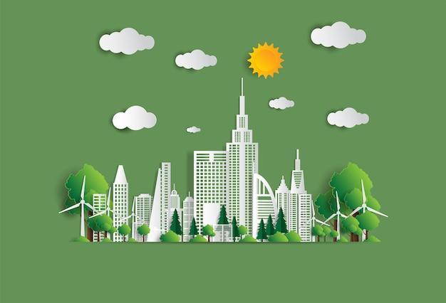 Illustrazione vettoriale concetto ecologico, la città verde salva il mondo,